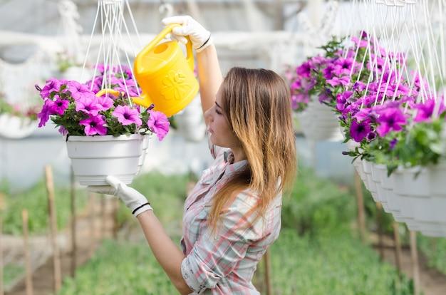 Ragazza allegra irrigazione fiori appesi in serra