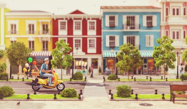 L'uomo allegro sul simpatico e divertente scooter corre lungo la strada in una meravigliosa città europea