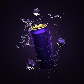Allegro sfondo viola, blu con un drink in lattine di alluminio. bere, bere, ristorante, alcol, acqua, mescolare, bar, soda, cola, frutta, lattine di alluminio, imballaggio, illustrazione 3d, rendering 3d