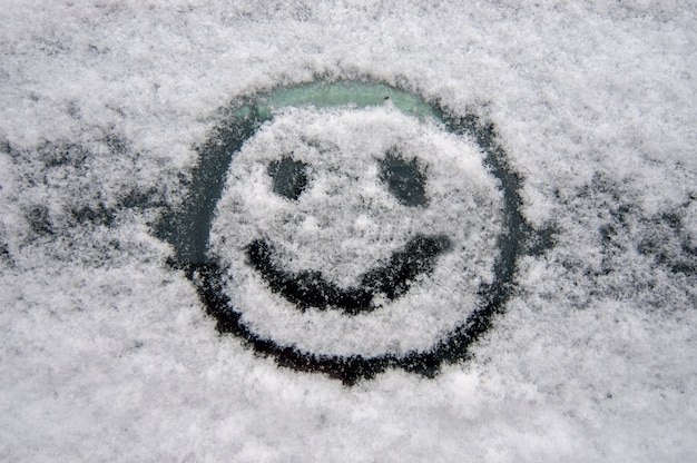Faccina allegra sul parabrezza nevoso di un'auto in inverno