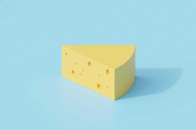 Singolo oggetto isolato formaggio o chedar. rendering 3d