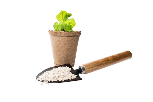 Fertilizzante crescente di impianto chimico con attrezzi agricoli per il giardinaggio, isolato su bianco.