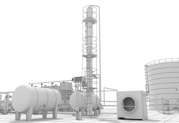 Produzione chimica, impianto di trattamento dei rifiuti, visualizzazione esterna