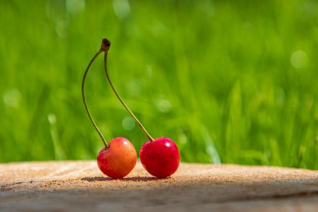 Duetto della ciliegia sulla tavola di legno un'erba verde. Foto Premium