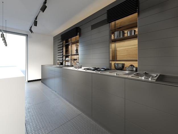 Dettagli isola cucina mobili in ciliegio e sedie da bar. rendering 3d