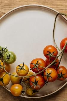 I pomodorini su un ramo sono presentati su uno sfondo chiaro con spazio di copia.