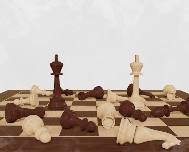 Scacchi gioco da tavolo concetto concorrenza strategia scacchi su sfondo bianco battaglia per la vittoria