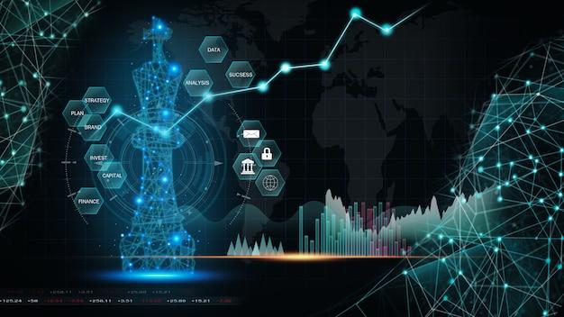 Gioco di scacchi sulla scacchiera dietro gli indicatori del grafico forex o il grafico del mercato azionario in uno sfondo astratto