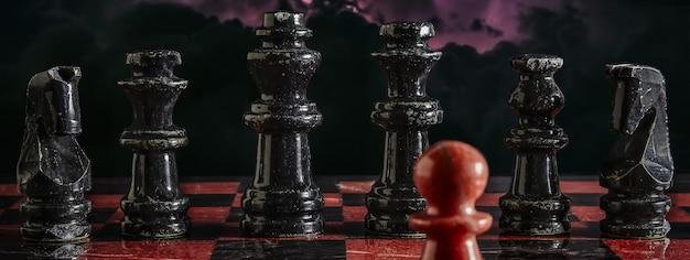 Particolare della partita a scacchi, immagine banner con spazio di copia