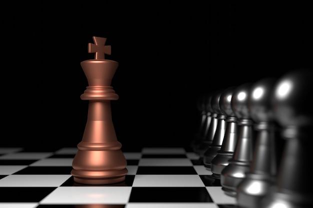 Re degli scacchi. rendering 3d.