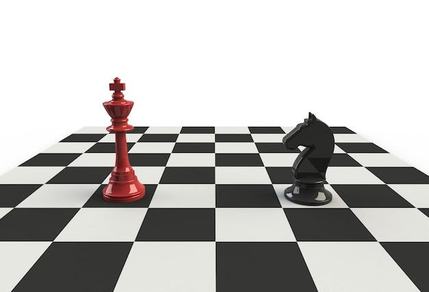 Re di scacchi con cavallo nero sul tavolo da gioco