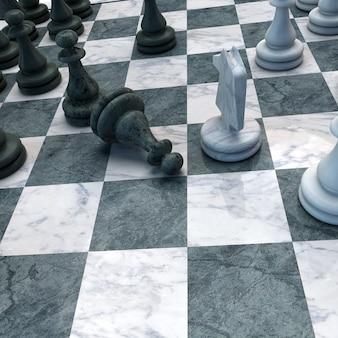 Gli scacchi muovono con il cavallo un pedone in basso