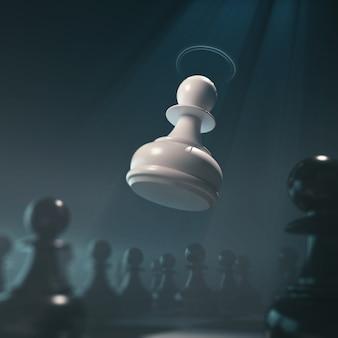 Concetto del pezzo degli scacchi per concorrenza di affari e strategia, rappresentazione del gioco da tavolo 3d.