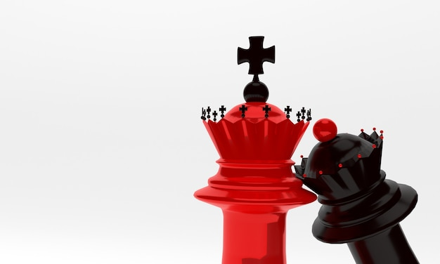 Pezzi degli scacchi vescovo e regina in nero e rosso