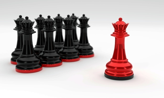 Pezzi degli scacchi in nero e rosso