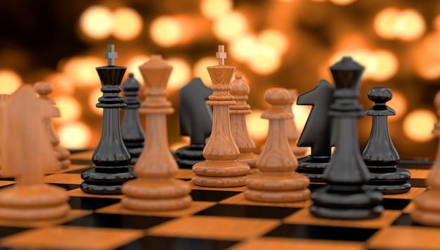 Pezzi degli scacchi in piedi su una scacchiera nell'illustrazione 3d