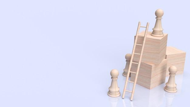 Gli scacchi e le scale sul cubo di legno per il rendering 3d del concetto di business