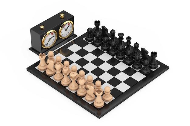 Scacchi con scacchiera e orologio di scacchi su sfondo bianco. rendering 3d