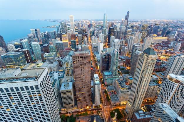Paesaggio urbano di chicago al litorale