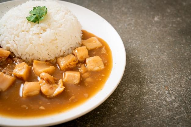 Pollo in salsa marrone o salsa di sugo con riso. stile di cibo asiatico