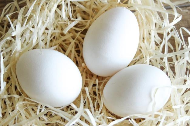 Primo piano delle uova di gallina