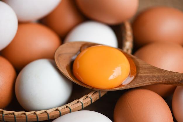 Uova di gallina e uova di anatra si raccolgono da prodotti agricoli naturali in un concetto di alimentazione sana del cesto, tuorlo d'uovo rotto fresco