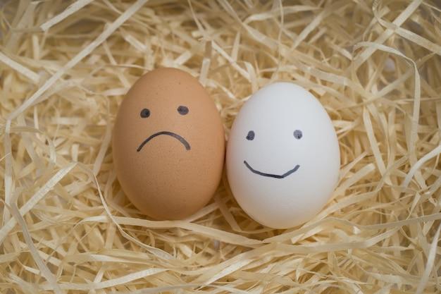 Uova di gallina con faccine tristezza e sorriso giacciono sul fieno
