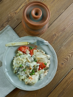 Fricassea di pollo con funghi e crema stile alsaziano - plat alsacien