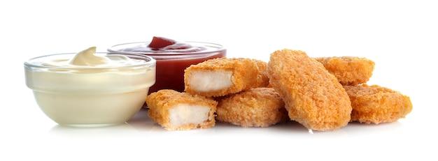 Pepite di pollo con salsa rossa e bianca, ketchup fast food