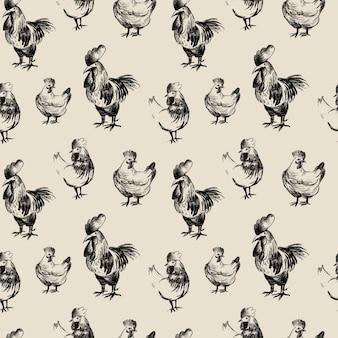 Modello senza cuciture del disegno a matita di pollo, schizzo degli animali della fattoria
