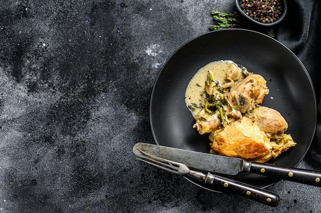 Torta di pollo con purè di patate e broccoli