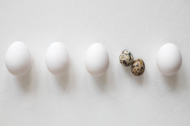 Pollo e uova di quaglia per pasqua con copia spazio - vista dall'alto