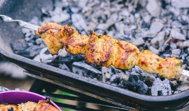 Spiedini di pollo e vitello grigliate su spiedini