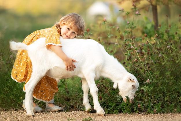 Ragazza carina bambino in abito di cotone giallo gioca e abbraccia capra bianca in campagna, natura estiva all'aperto.