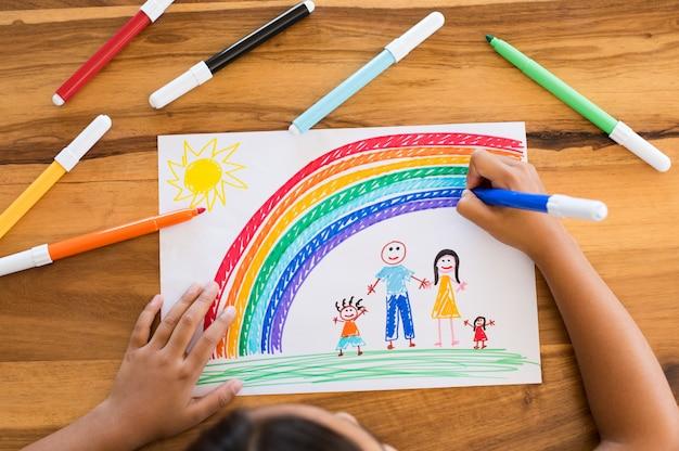 Figlio di disegno famiglia felice