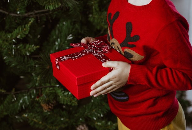 Particolare delle mani del bambino con il regalo di natale