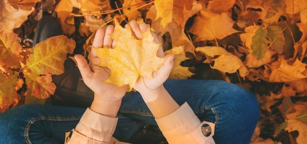 Bambino nel parco con foglie d'autunno.