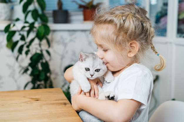 Bambino che gioca con il piccolo gatto. una bambina tiene un gattino bianco. una bambina si coccola con un simpatico animale domestico.