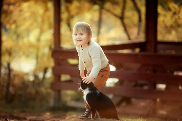 Un bambino gioca con un gatto esterno
