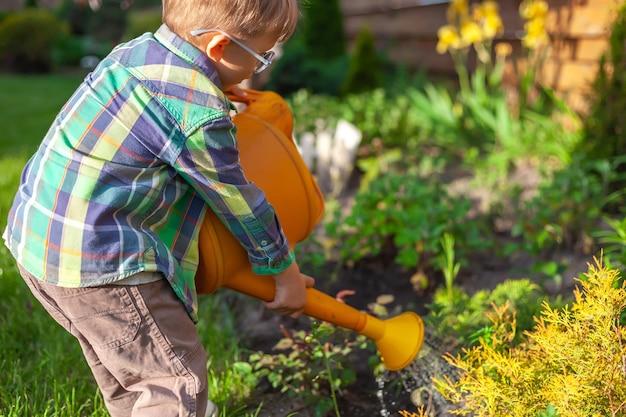 Annaffiatoio per bambini che innaffia un giardino nel cortile di casa
