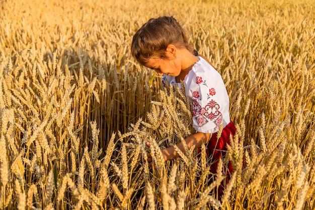 Bambino in un campo di grano. in vyshyvanka, il concetto del giorno dell'indipendenza dell'ucraina. messa a fuoco selettiva. ragazzo.