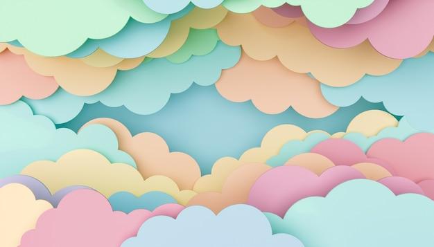 Sfondo infantile di nuvole piatte colorate