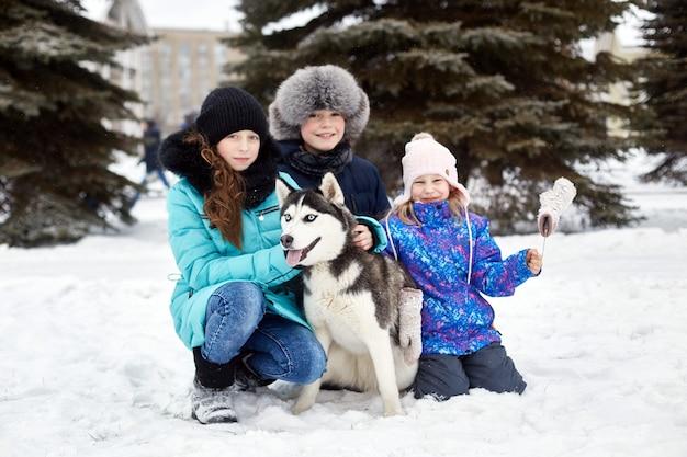 I bambini escono e giocano con il cane husky in inverno. i bambini si siedono nella neve e accarezzano il cane husky. passeggiata nel parco in inverno, gioia e divertimento, cane husky con gli occhi azzurri.
