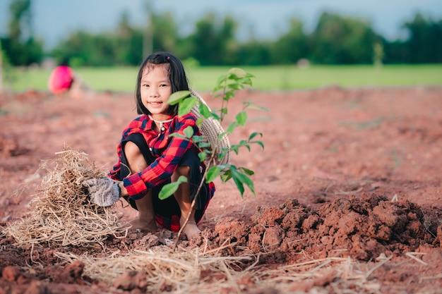 I bambini che piantano l'albero sulla terra hanno sfocato lo sfondo