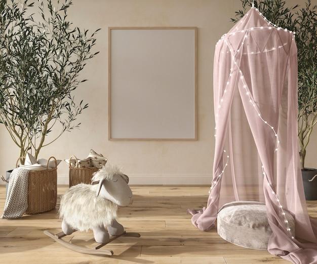 Camera dei bambini ragazze interni in stile scandinavo con mobili in legno 3d rendering illustrazione
