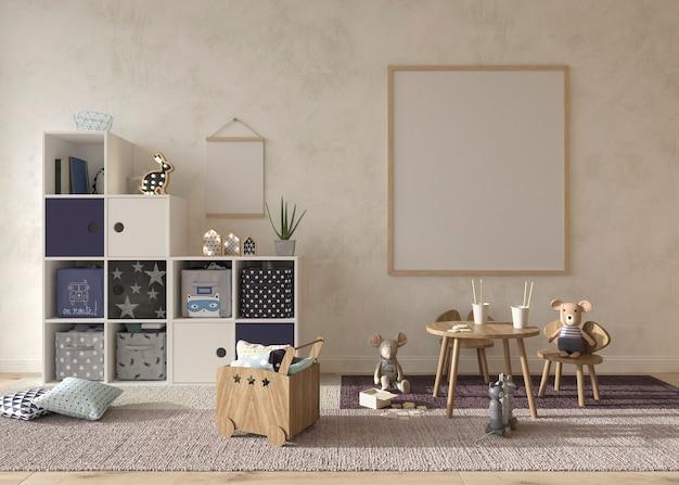 Illustrazione interna della rappresentazione 3d di stile scandinavo della stanza dei bambini