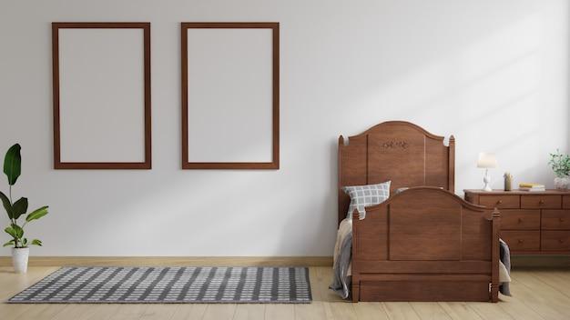 La camera dei bambini ha un letto in legno con una lampada sul tavolo con una cornice attaccata al muro bianco. rendering 3d.