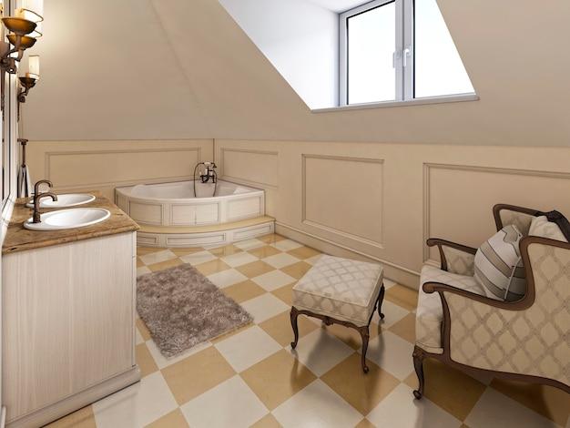 Sistema di archiviazione per mobili per bambini con due scrivanie integrate. i bambini hanno un design moderno in blu. rendering 3d.
