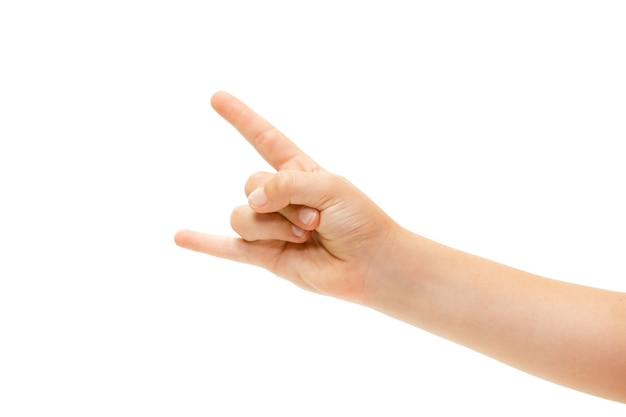 Gesti della mano dei bambini su sfondo bianco