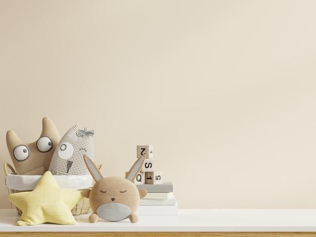 Camera dei bambini sul muro bianco colori background.3d rendering
